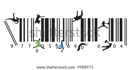 Illustration of business people and bar code - stock vector