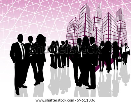 Illustration of business people and building - stock vector