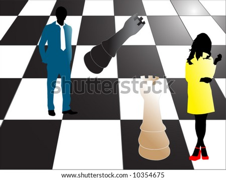 Illustration of business people and chess - stock vector