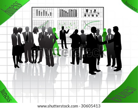 Illustration of business people and graphs - stock vector