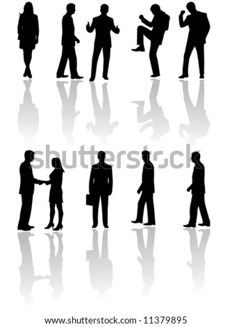 Illustration of business people and shadow - stock vector