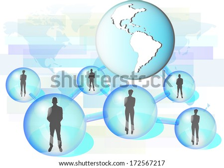 Illustration of business people connected in network with globe. Elements of this image are furnished by NASA  - stock vector