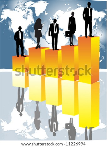 illustration of business people, graph and map - stock vector