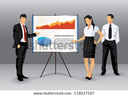 Illustration of business people making a presentation with the use of a white board showing pie-charts and graphs - stock vector