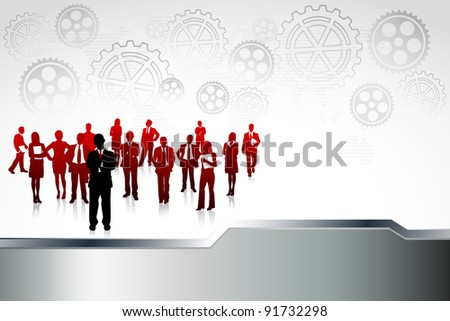 illustration of business people standing in abstract industrial background - stock vector