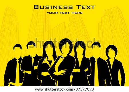 illustration of business people standing with city backdrop - stock vector