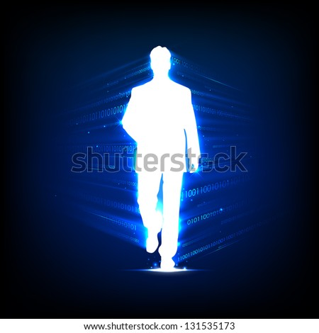 illustration of business people walking on binary technology background - stock vector