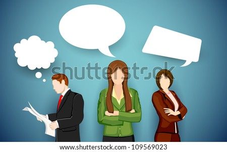 illustration of business people with chat bubble - stock vector