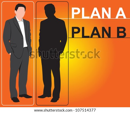 Illustration of Businessman, concept  PLAN A - PLAN B - stock vector