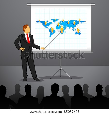 illustration of businessman giving presentation in conference - stock vector