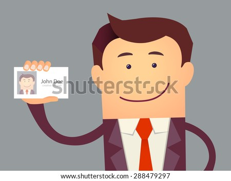 Illustration of businessman holding blank id card in flat style. Vector illustration - stock vector