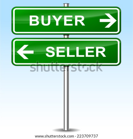 Illustration of buyer and seller green sign - stock vector