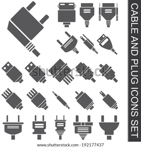 illustration of cable and plug icons set - stock vector