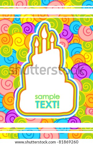 illustration of cake shape colorful card for celebration - stock vector