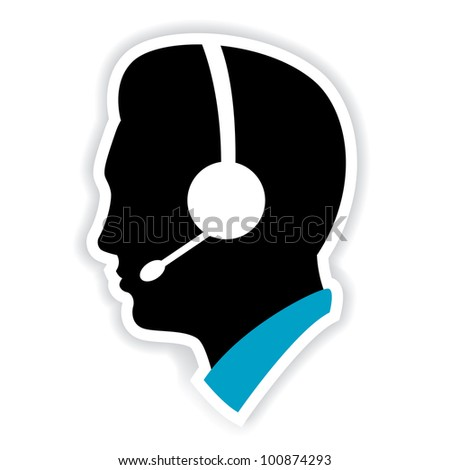 illustration of call center executive on white background - stock vector