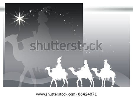 illustration of camels with kings magicians has more than enough bottom - stock vector