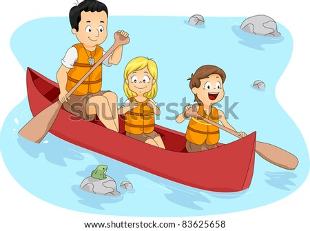 Illustration of Campers Boating - stock vector