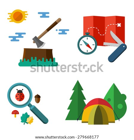 Illustration of camping equipment isolated on white background. Set of vector colorful hiking illustrations - tent compass map penknife axe magnifier tree ladybug acorn and leaf in flat style - stock vector