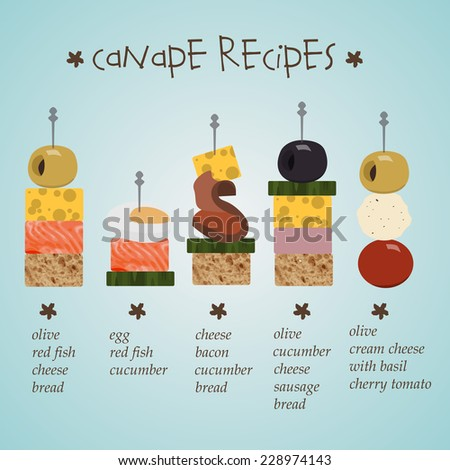 Illustration of canape recipes with ingredients in flat for Canape with ingredients