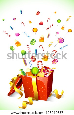 illustration of candy popping out of gift box - stock vector