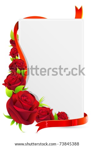 illustration of card with rose and roses on white background - stock vector