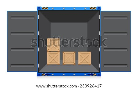 Illustration of cargo container and wood crate. - stock vector