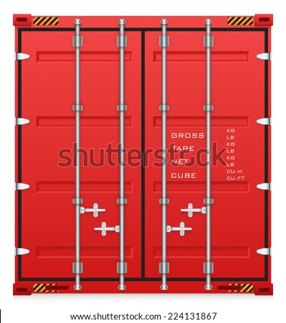 Illustration of cargo container isolated on white background. - stock vector