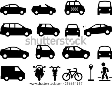 Illustration of cars, automobiles and motorcycles. also includes taxi, bicycle, pedestrian and parking meter. Vector icons for digital and print projects. - stock vector