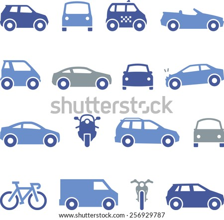 Illustration of cars, automobiles and motorcycles. Also includes taxi, bicycle, pedestrian and parking meter.  - stock vector