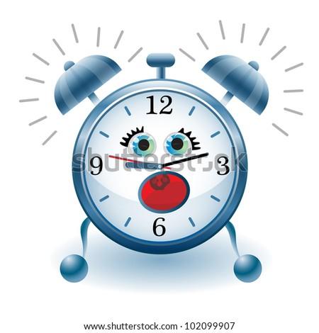 illustration of Cartoon alarm clock on  white background - stock vector