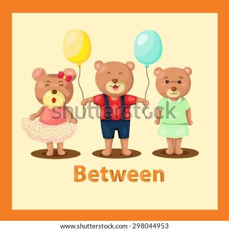 illustration of  cartoon bears with vocabulary between - stock vector