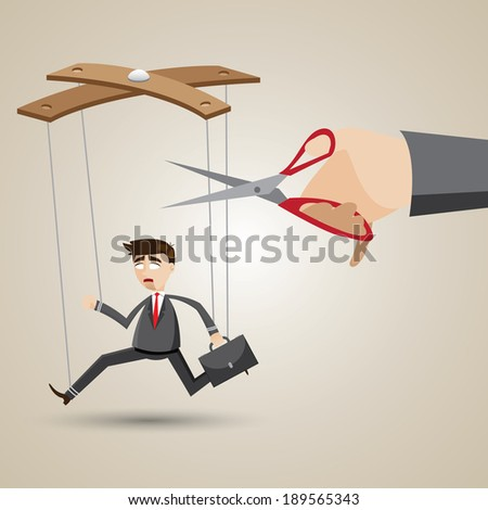 illustration of cartoon businessman in puppet style with scissors to cutting nylon. - stock vector