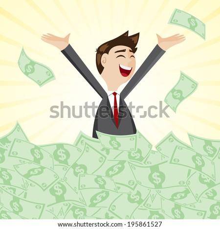 illustration of cartoon businessman on pile of money cash in jackpot concept - stock vector