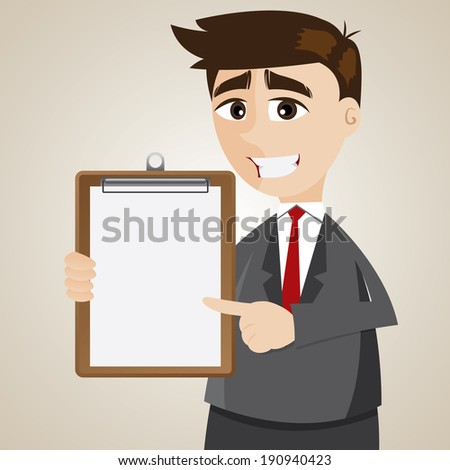 illustration of cartoon businessman showing blank board - stock vector