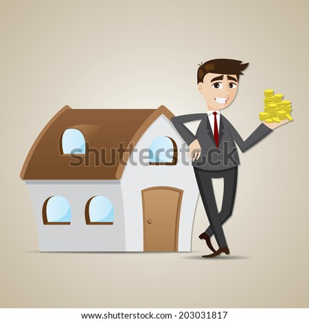 illustration of cartoon businessman with house and money in investment concept - stock vector