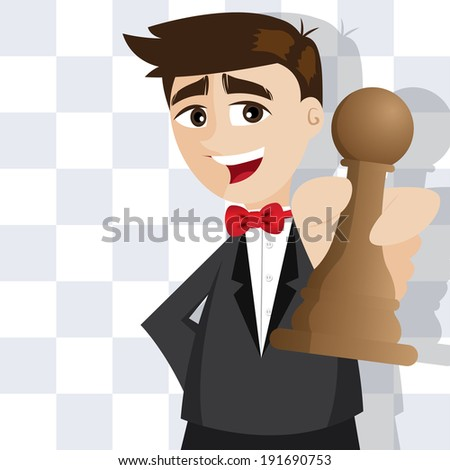 illustration of cartoon businessman with piece of chess - stock vector