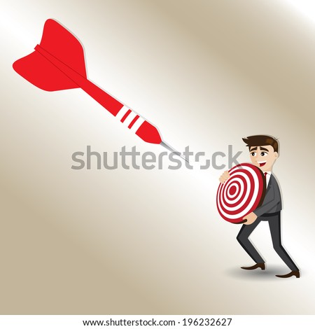 illustration of cartoon businessman with targeted dart in success concept - stock vector