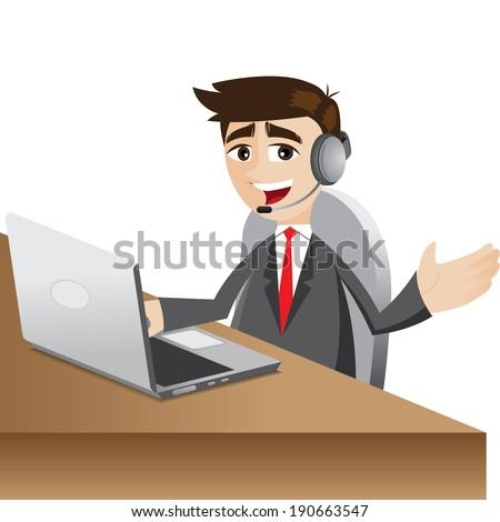 illustration of cartoon call center businessman with headphone - stock vector