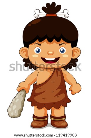 illustration of Cartoon cave boy - stock vector