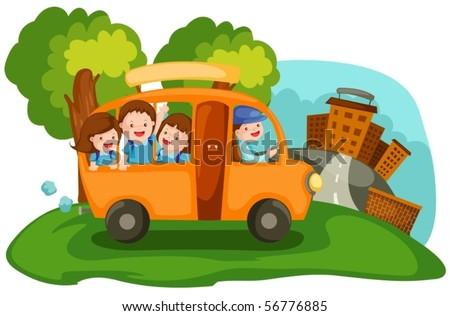 illustration of  cartoon cityscape school bus - stock vector