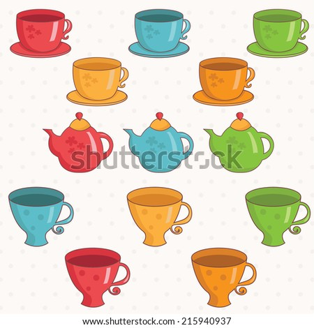 Illustration of cartoon collection of cup and teapot .Vector. - stock vector