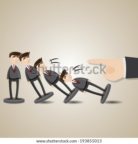 illustration of cartoon domino businessman figure fall down in collapse concept - stock vector