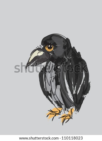 Illustration of cartoon hand drawn raven on gray background - stock vector