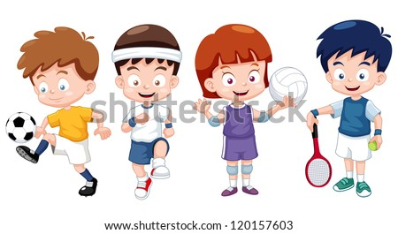 illustration of  Cartoon kids sports characters - stock vector