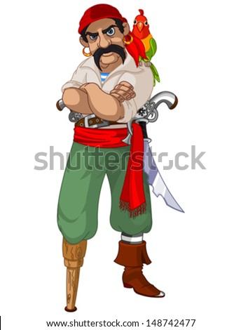 Illustration of cartoon pirate with parrot - stock vector