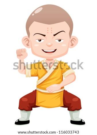 illustration of Cartoon Shaolin boy vector - stock vector