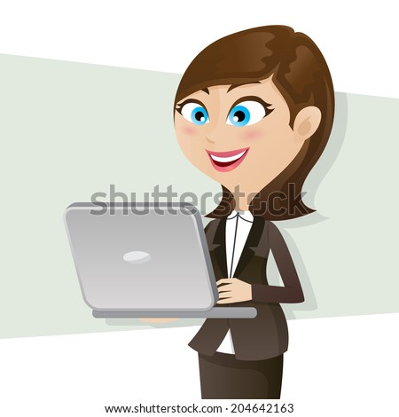 illustration of cartoon smart girl using computer notebook - stock vector
