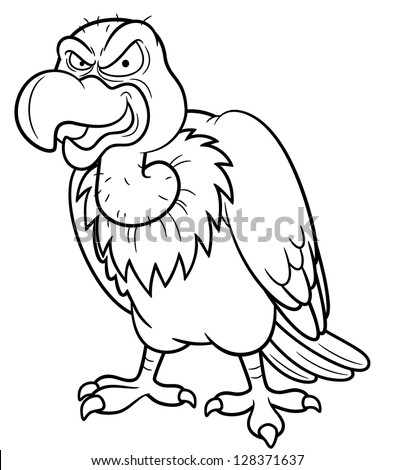 illustration of Cartoon vulture - Coloring book - stock vector