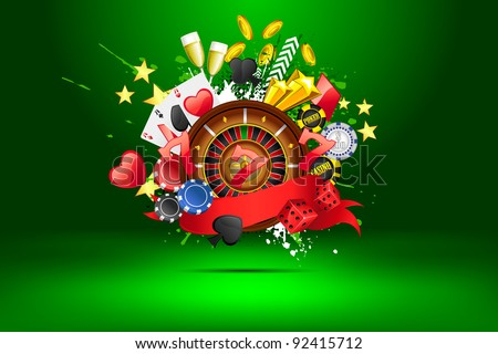 illustration of casino object on abstract background - stock vector
