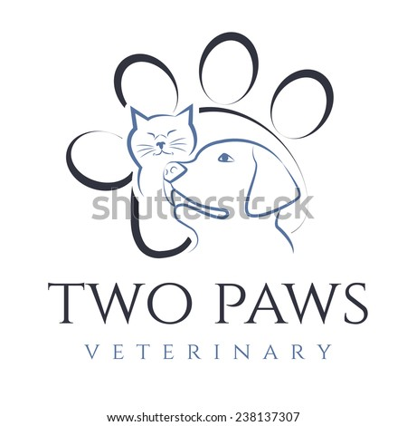 Illustration of cat and dog, for veterinary clinic. Vector - stock vector